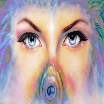 women eyes looking up mysteriously from behind a small rainbow colored peacock feather. Eye contact